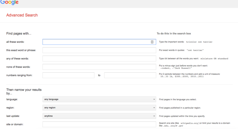 Google advanced query